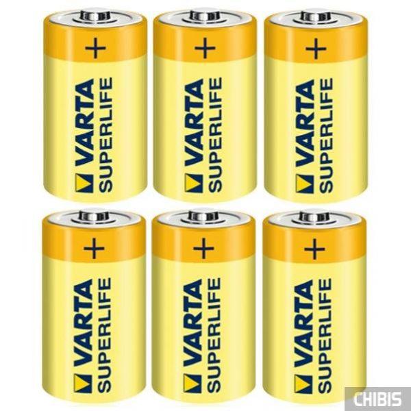 Батарейка R20 Varta D Superlife 1.5V Цинково-угольная 6/6 шт пленка.