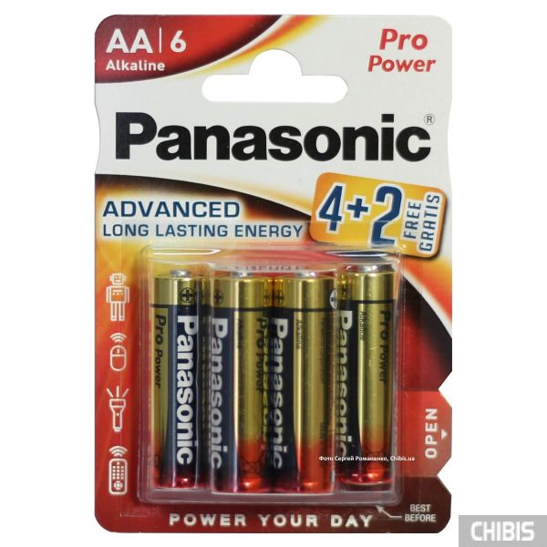 Батарейка Panasonic AA Pro Power Alkaline 1.5V LR6PPG/6BP 4-2F блистер 6 шт (4+2)