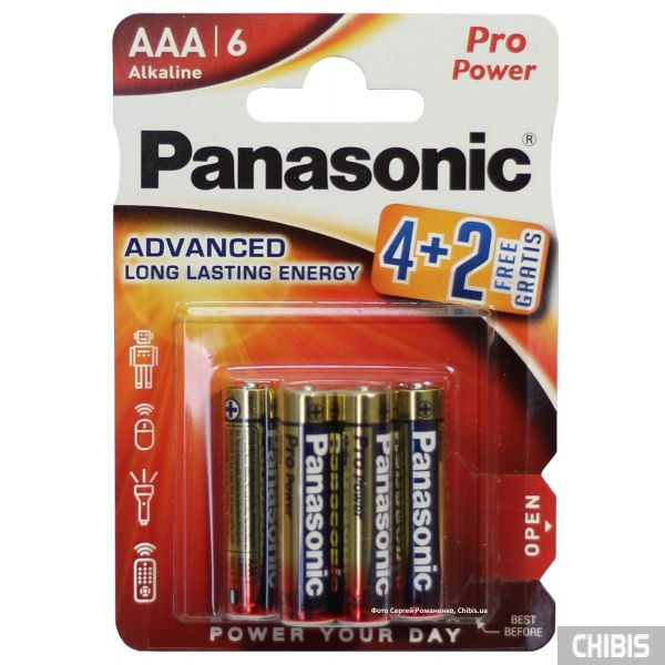 Батарейка ААА Panasonic Pro Power Alkaline 1.5V LR3PPG/6BP 4+2F блистер 6 шт (4+2)