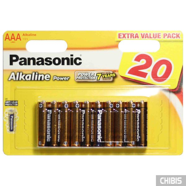 Батарейка ААА Panasonic Alkaline Power блистер 20/20 шт LR03REB/20BW