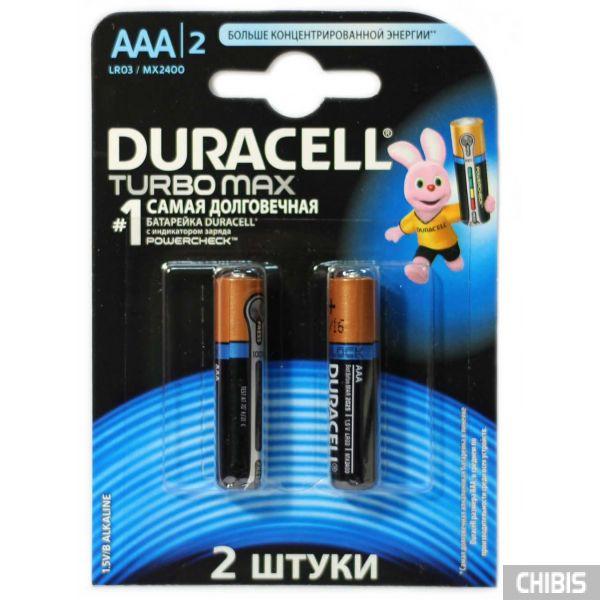 Батарейка Duracell AAA TurboMax LR03 2 шт