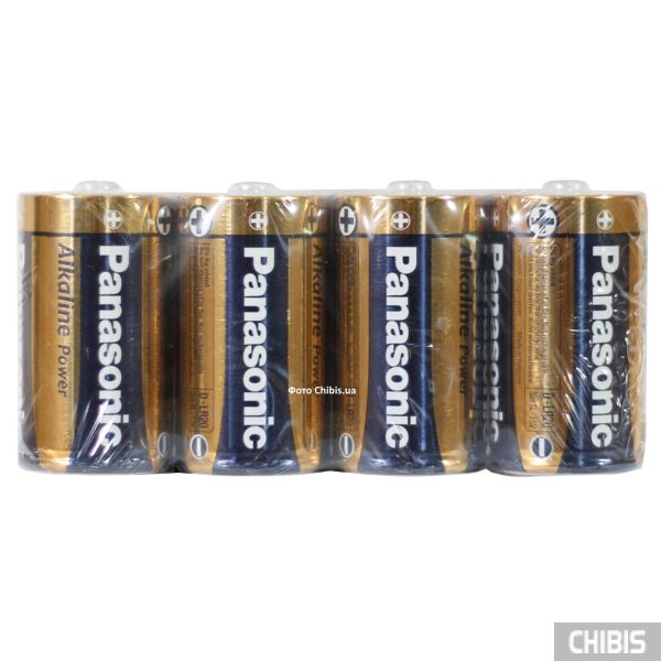 Батарейка D Panasonic Alkaline Power LR20 1.5V пленка 4/4 шт