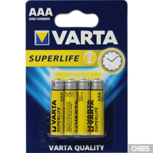 Батарейка ААА Varta Superlife R03, 1.5V, Цинково-угольная блистер на 4 шт 02003101414