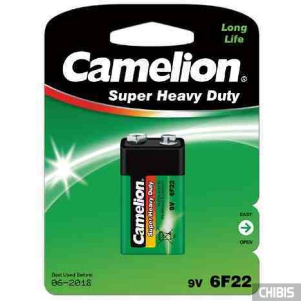 Батарейка 9V Крона Camelion 6R61 6F22 марганцево-цинковая блистер 1/1 шт