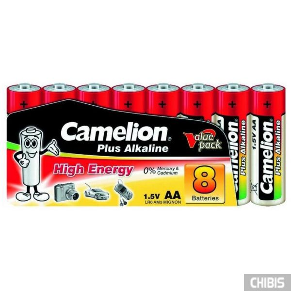 Батарейка Camelion AA Plus Alkaline (LR06, 1.5V, щелочная) 1/8 шт. пленка