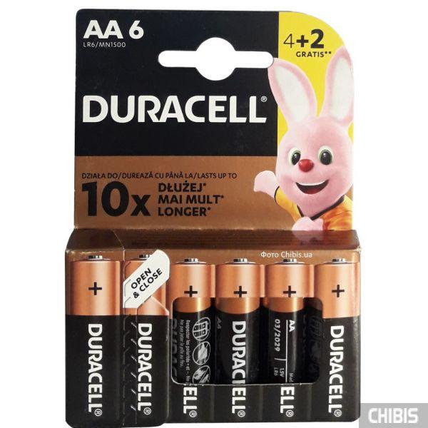 Батарейка Duracell AA 6 шт 1.5 V Basic 4+2 блистер