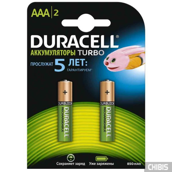 Аккумуляторные батарейки Duracell AAA 850 2 шт. блистер