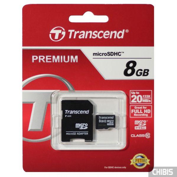 Карта памяти MicroSDHC 8GB (Class 10) Transcend с SD адаптером