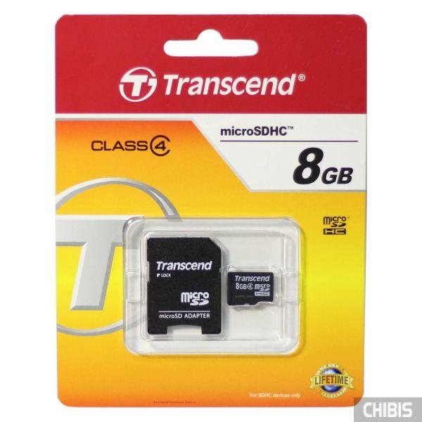 Карта памяти Transcend MicroSDHC 8Gb (Class 4) + SD adapter