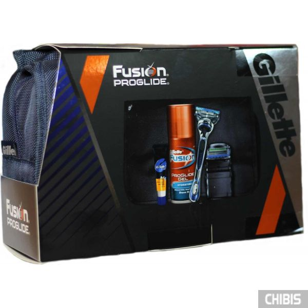 Подарочный набор Джилет Фьюжн Проглайд станок с кассетой + доп кассета + гель + бальзам и сумочка