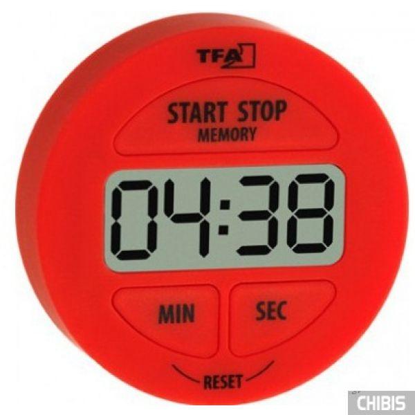 Таймер цифровой TFA (38202205) с секундомером, красный