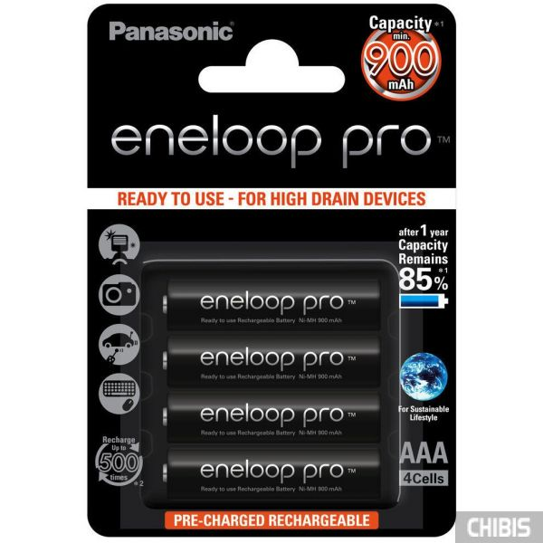 Аккумуляторные батарейки ААА Panasonic 900 mAh Eneloop Pro 4BP Ni-MH BK-4HCCE/4BE 4/4 шт
