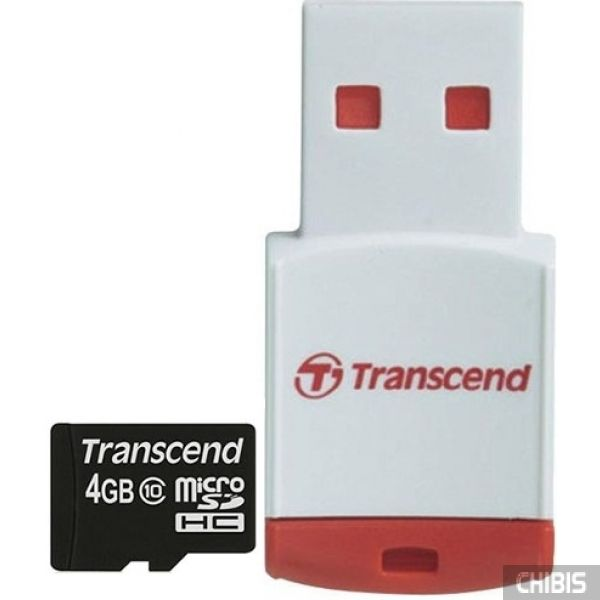 Карта памяти Transcend MicroSDHC 4GB (Class 10) + CardReader