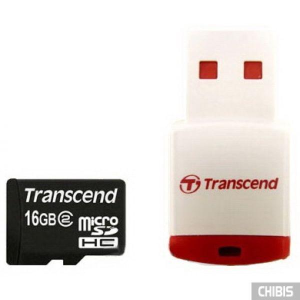 Карта памяти Transcend MicroSDHC 16Gb (Class 2) + CardReader