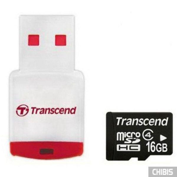 Карта памяти Transcend MicroSDHC 16Gb (Class 4) + CardReader