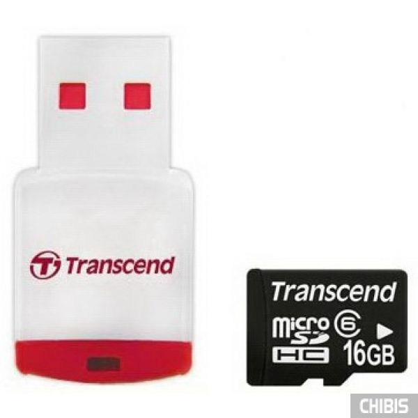 Карта памяти Transcend MicroSDHC 16Gb (Class 6) + CardReader
