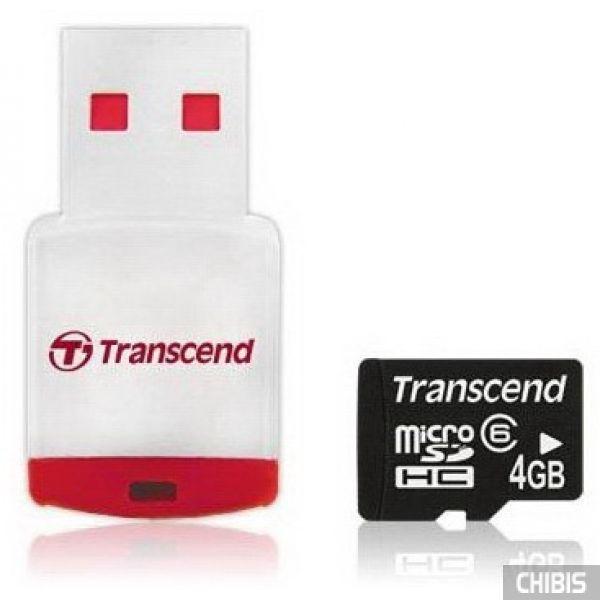 Карта памяти Transcend MicroSDHC 4Gb (Class 6) + CardReader
