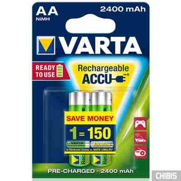 Аккумуляторные батарейки Varta AA 2400 mAh Ni-Mh Ready to Use блистер 2/2 56756101402