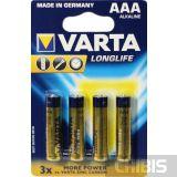 Батарейка ААА Varta Longlife LR03 1.5V Alkaline блистер 4/4 шт.