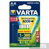 Аккумуляторные батарейки Varta АА 2600 mAh Ni-Mh Ready to Use блистер 2/2 05716101402
