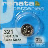Батарейка для часов Renata SR616SW (321) 1.55V Silver 1 шт