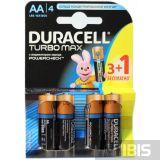 Батарейка Duracell AA Turbo LR06, 1.5V, Alkaline Щелочная 3 шт+1 бесплатно 1/4шт 5000394007772