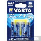 Батарейка ААА Varta High Energy LR03 1.5V Alkaline блистер 4