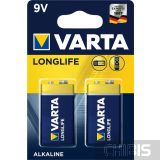 Батарейка Varta 9V Крона Longlife Extra (6LR61,6F22, 9V, Alkaline Щелочная) 2 шт блистер