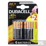 Батарейка AA 1.5 V Duracell Basic 4+2 блистер 6 шт