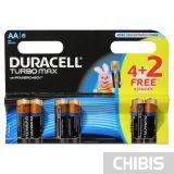 Батарейка Duracell AA Turbo LR06, 1.5V, Alkaline Щелочная 4 шт+2 бесплатно 6 шт