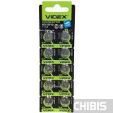 Батарейка Videx AG10 / LR1130 / 1131 / LR54 / GP89 / 389 / V10 Alkaline 1.5V 10 шт