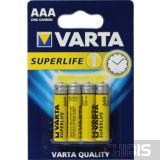 Батарейка ААА Varta Superlife R03, 1.5V, Цинково-угольная блистер на 4 шт 02003101414