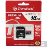 Карта памяти 16 Gb Transcend MicroSDHC Class 10 + SD адаптер Premium 400x TS16GUSDU1