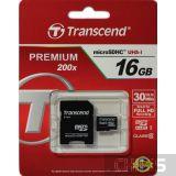 Карта памяти Transcend MicroSDHC 16GB (Class 10) + SD адаптер TS16GUSDHC10